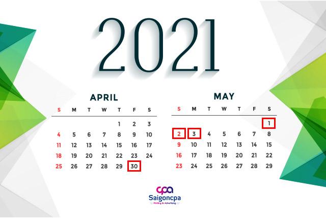 Lịch nghỉ lễ 30/4 1/5 năm 2021