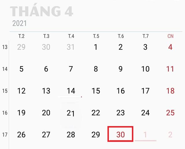 30 tháng 4 năm 2021 nghỉ mấy ngày?