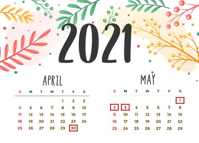 Nghỉ lễ 30 tháng 4 và mùng 1 tháng 5