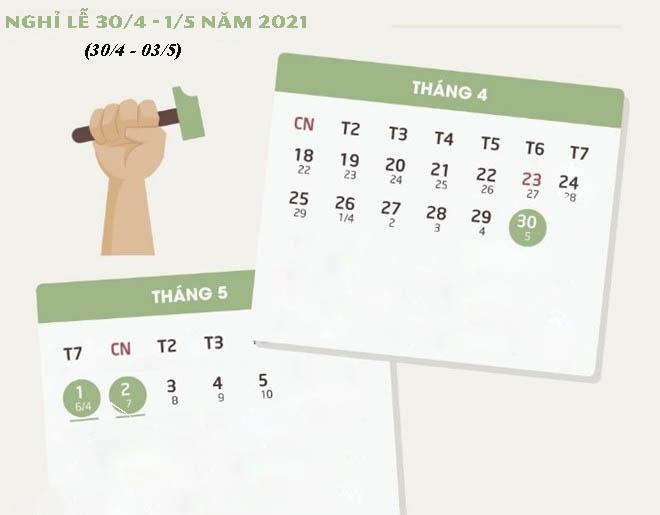 Nghỉ lễ 30/4 1/5 năm 2021
